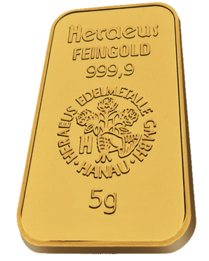 5 Gr. Gold Bar Heraeus