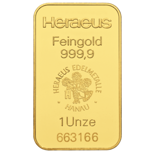 1 Ounce Gold Bar Heraeus / Argor Heraeus
