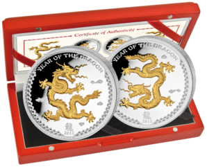 2x5$ Year of the Dragon gilded 2012