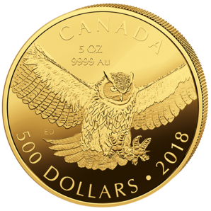 500 $ Great Horned Owl 5 oz Au 2018